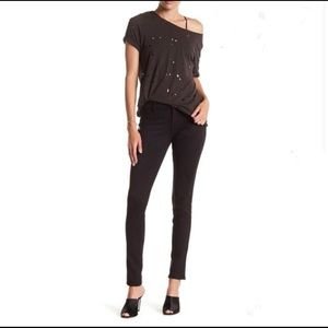 Level 99 Liza Black Faux Suede Skinny Pants